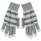 Thicken Hand Warming Full-finger Gloves for Touch Screen Device - Grey (Pair)
