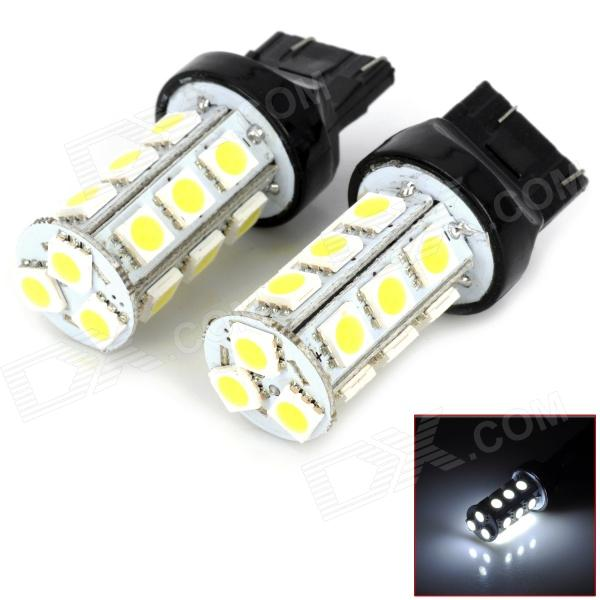 744350-18W T20 3W 200lm 6000K 18 SMD 5050 LED White Light Car Bulbs - Black + Yellow
