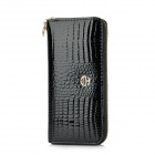 WB8041 Small Crocodile Pattern One Zipper Women's Long Wallet - Black