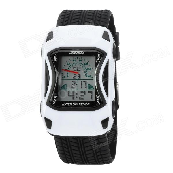 Sports Car Style Water Resistant Silicone Wrist Watch for Children - White + Black skmei 0961b car style electronic silicone band digital wrist watch for kids red black