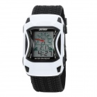 Sports Car Style Water Resistant Silicone Wrist Watch for Children - White + Black