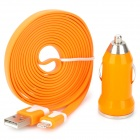 Car Cigarette Lighter Charger + 8Pin Lightning Flat Charging Cable for iPhone 5 / Nano 7 - Orange