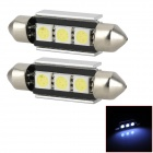LY253 Festoon 39mm 1W 33lm 3-SMD 5050 LED White Car Reading Lights (2 PCS)