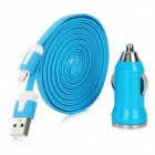 Car Cigarette Lighter Charger + 8Pin Lightning Flat Charging Cable for iPhone 5 / Nano 7 - Blue