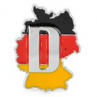 LZ004 Germany Flag and Map of Germany Aluminum Alloy Car Sticker - Yellow + Red + Black + Silver