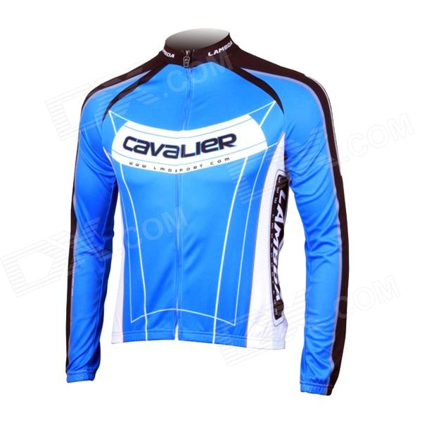 LAMBDA L060 Cycling Bicycle Bike Riding Long Sleeves Suit Jersey - Blue + Black (Size M) universal nylon cell phone holster blue black size l