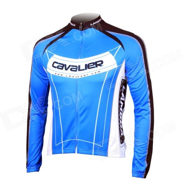 LAMBDA L060 Cycling Bicycle Bike Riding Long Sleeves Suit Jersey - Blue + Black (Size L) universal nylon cell phone holster blue black size l