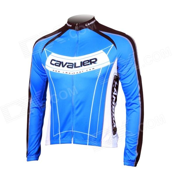 LAMBDA L060 Cycling Bicycle Bike Riding Long Sleeves Suit Jersey - Blue + Black (Size XL) universal nylon cell phone holster blue black size l