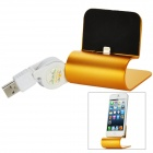 Aluminum Alloy 8Pin Lightning to USB 2.0 Data & Charging Cable Stand for iPhone 5 - Golden