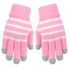 Stripe Pattern Hand Warmer Gloves for Touch Screen Device - Pink + White