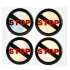 JR013 No Stopping Pattern Motorcycle Car Decoration Stickers Set - Black + Red + Silver (4 PCS)