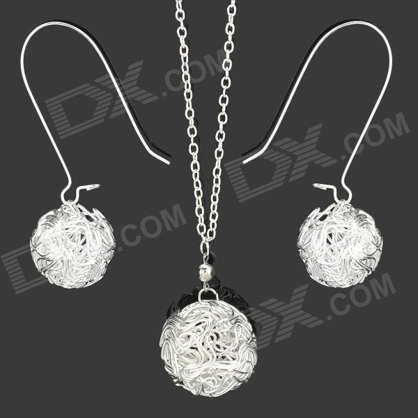 Weaving Ball Style w/ Rhinestone Zinc Alloy Pendant Necklace + Earrings for Women - Silver (3 PCS) three dimensional adjustable zinc alloy connector for gopro 3 3 2 golden