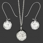 Weaving Ball Style w/ Rhinestone Zinc Alloy Pendant Necklace + Earrings for Women - Silver (3 PCS)