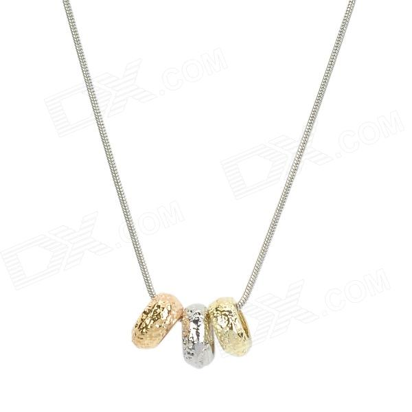 Frosted Zinc Alloy Beads Pendant Necklace for Women - Golden + Silver