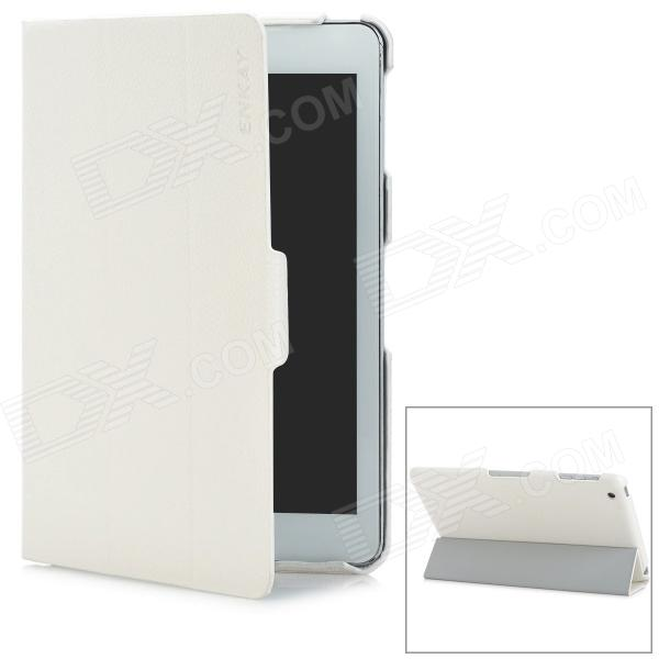 ENKAY ENK-3304 Lychee Pattern Protective PU Leather Case w/ Sleep Function for Ipad MINI - White