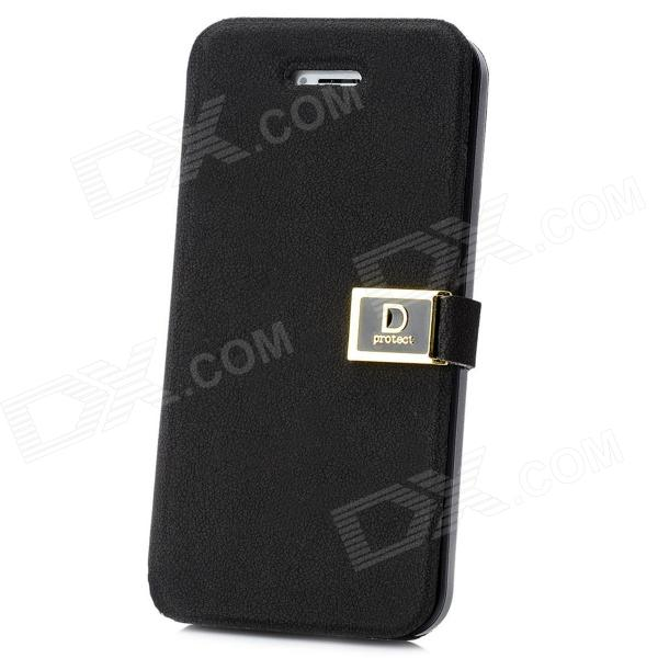 Protective PU + ABS Flip-Open Case w/ Magnet for Iphone 5 - Black