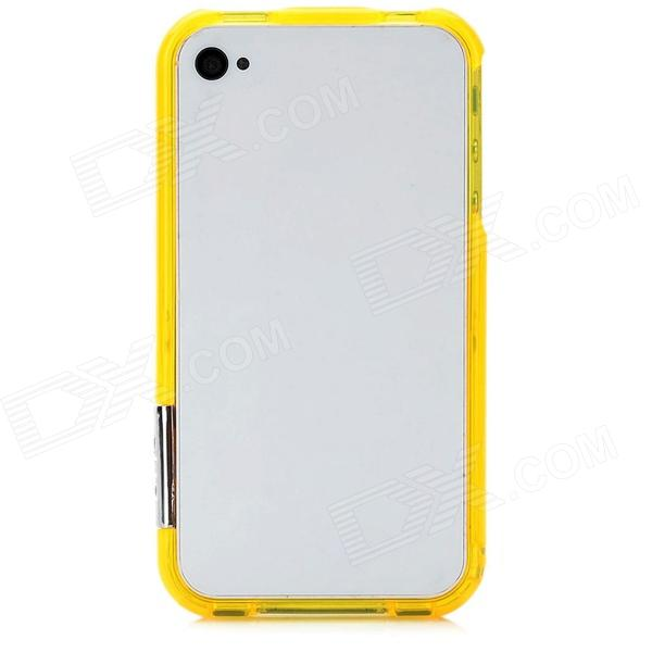 Protective Plastic Bumper Case w/ Iron Buckle for Iphone 4 / 4S - Crystal Yellow