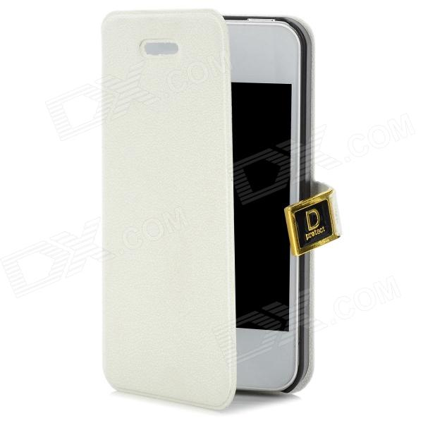 Protective PU + ABS Flip-Open Case w/ Magnet for Iphone 4 / 4S - White + Black protective pu leather flip open case for iphone 4 4s black