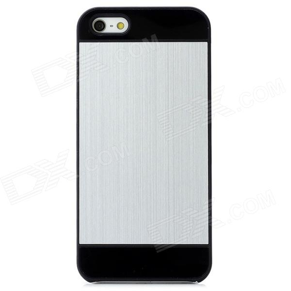 Protective Matte Aluminum Alloy Back Case for Iphone 5 - Black + Silver