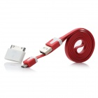 Micro USB 5Pin / 30pin Flach-Datenkabel + Adapter - Red (1m)
