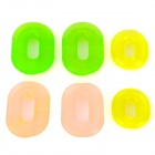 Motorcycle Left / Right Side Cover Grommets Set - Translucent Beige / Green / Yellow (3 Pairs)