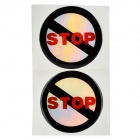 JR014 No Stopping Pattern Motorcycle Car Decoration Stickers Set - Black + Red + Silver (2 PCS)