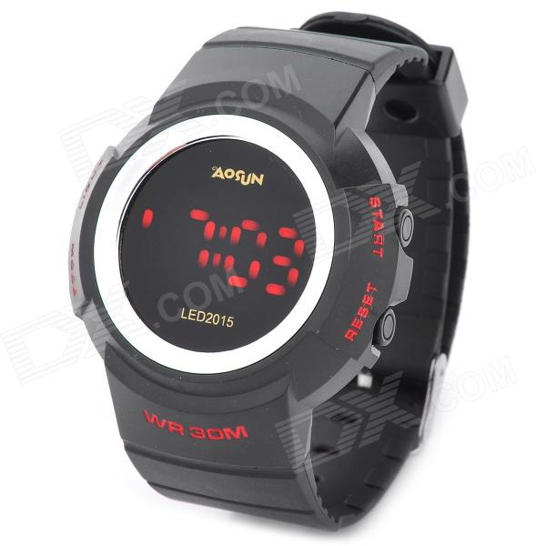 AOSUN Multi-Function Digital Luminous Wrist Watch w/ Alarm for Men - Black (1 x CR2025)