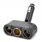 20645 1-to-3 Car Cigarette Lighter Plug Socket w/ Power Indicator - Black (12V / 15A)