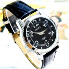 Men's Water Resistant Acrylic Dial Window PU Band Quartz Analog Wrist Watch - Black (1 x SR626SW )