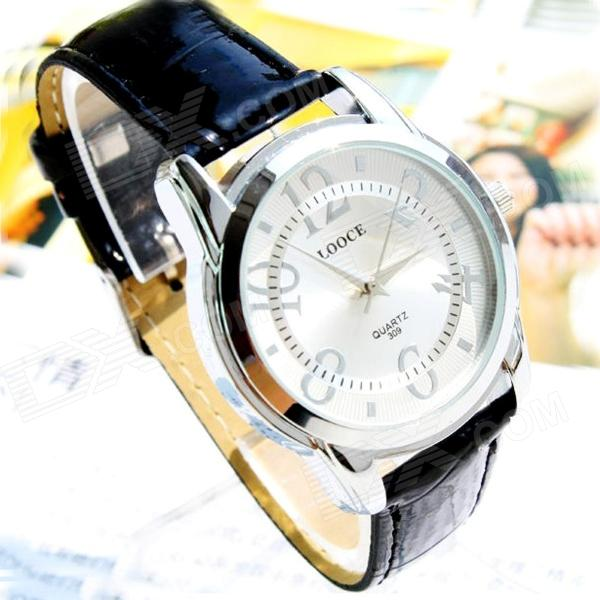Men's Water Resistant Acrylic Dial Window PU Band Quartz Analog Wrist Watch - White (1 x SR626SW )