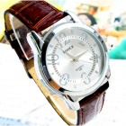 Men's Water Resistant Acrylic Dial Window PU Band Quartz Analog Wrist Watch - Silver + Brown