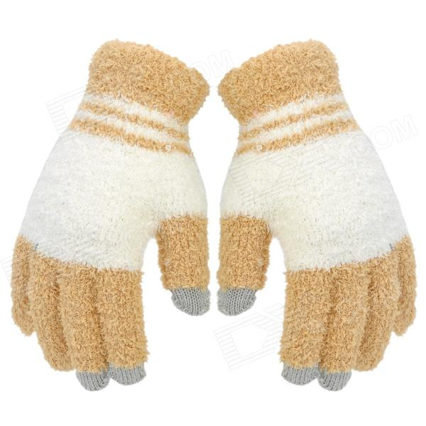 Capacitive Screen Touching Full Finger Hand Warmer Gloves - White + Yellow (Pair / Free Size)