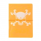 Glow-in-the-Dark Skull Style Passport Holder - Fluorescent Orange