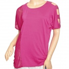 YLY-A8127 Women's Chiffon Cotton Splicing Loose Short Sleeve T-Shirt - Deep Pink (Free Size)