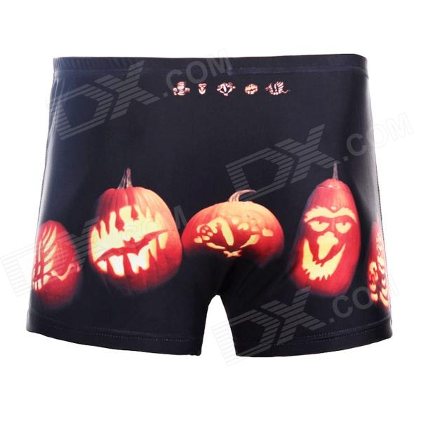 3D Pumpkin Lights Style Shorts for Men - Black (Size XXXL)