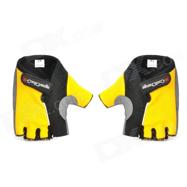 CoolChange Stylish Half-Finger Anti-Shock Riding Gloves - Yellow + Black (Size-XL / Pair) spakct cool006 knuckle riding cycling gloves black white red xl 21cm