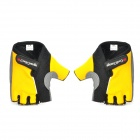 CoolChange Stylish Half-Finger Anti-Shock Riding Gloves - Yellow + Black (Size-XL / Pair)