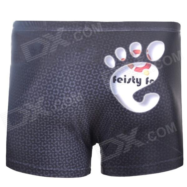 3D Footprint Style Shorts for Men - Black (Size XL)