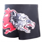 3D Fire Wolf Head Style Shorts for Men - Black (Size XXXL)