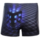 3D Magic Cube Style Shorts for Men - Black (Size XXXL)