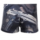 3D Pistol Gun Style Shorts for Men - Black (Size XXXL)