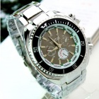 Men's Water Resistant Black Resin Glass Dial Steel Alloy Quartz Analog Wrist Watch - Silver