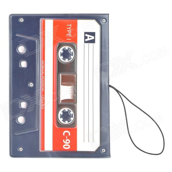 Cassette Tape Pattern PVC Soft Rubber Passport Case - Black + White + Red