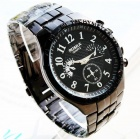 Men's Water Resistant Resin Glass Dial Steel Alloy Quartz Analog Wrist Watch - Black
