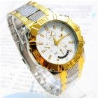 Men's Water Resistant Resin Glass Dial Steel Alloy Quartz Analog Wrist Watch - Silver + Golden