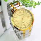 Men's Water Resistant Golden Resin Glass Dial Steel Alloy Quartz Analog Wrist Watch - Silver