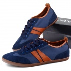 MODEST 3323 Outdoor Sports Canvas Shoes for Males - Dark Blue + Brown (Size 42 / Pair)