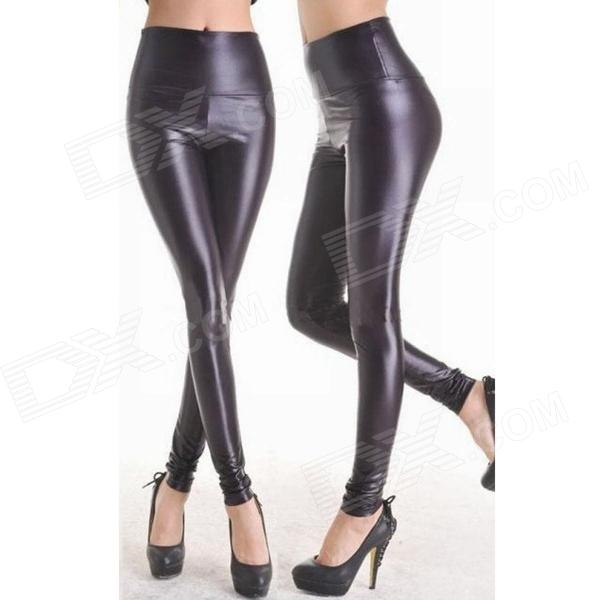 Chic Shining Fashion Patent Leather Slim Leggings Pants - Black
