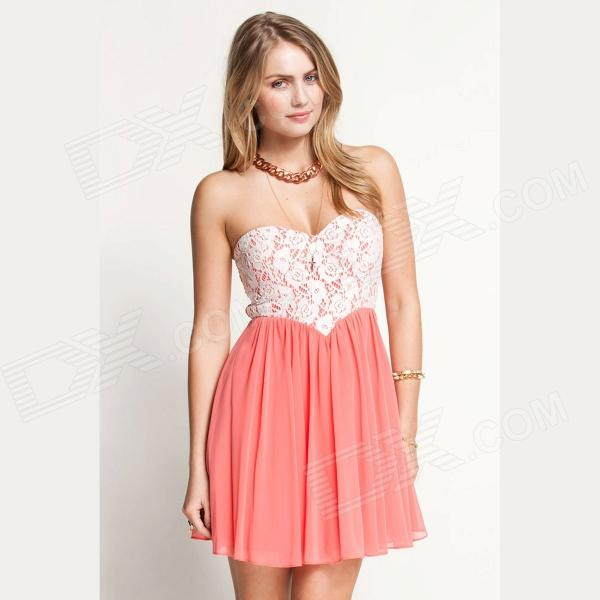 Cute Lace Dipped Bodice Dress - Pink   White - Free Shipping ...