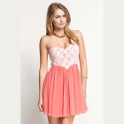 Cute Lace Dipped Bodice Dress - Pink + White